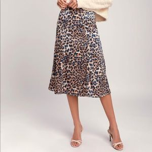 Leopard faux satin midi skirt